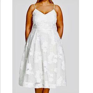 14 1X City Chic White Floral daisy Mesh Midi dress